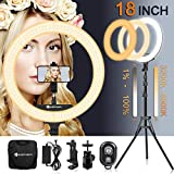 18 Inch Ring Light with Tripod Stand YouTube LED TikTok Ringlight Kit Color Temperature 3200K to 5500K Makeup Ringlights with Phone Holder Remote Carry Bag Camera Cellphone Video Shoot Selfie Portrait