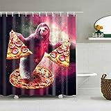 YPXXPY Duschvorhang Wasserdichter Nassraum-Duschvorhang Anti-Schimmel-Badvorhang Langlebiger Badvorhang Poly Long mit 12 Haken , Faultier Pizza