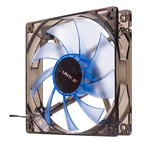 UNYKACH 51791 ventilator, koeler en radiator, PC-behuizing, ventilator en radiatoren (PC-behuizing, ventilator, 12 cm, 1200 omw/min, 19 dB, grijs, transparant)