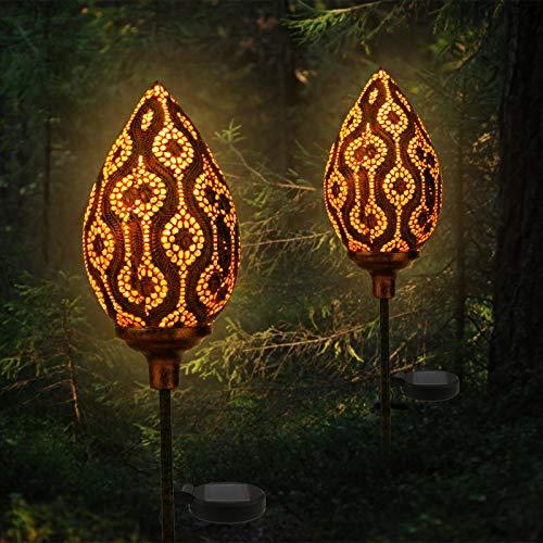 infinitoo Solarlampe für Außen, 2er Pack Metall Blütenknospe LED Stake Dekorative Gartenfahlständer Solarleuchte im Freien Gartendeko für Terrasse, Weg, Hof, Rasen (Warmweiß , IP65, Energieklasse A++)