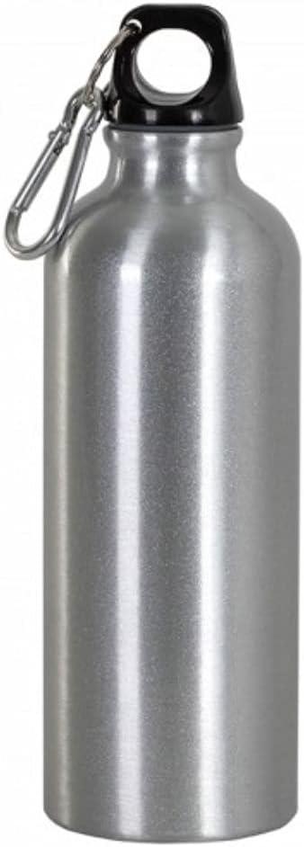 Botella térmica con mosquetón, 500 ml, botella de agua de aluminio, color gris plateado, para escuela, deportes, al aire libre, gimnasio, yoga