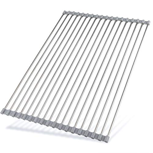 """Hhyn Roll Up Dish Drying Rack 20.5""""(L) x 14""""(W) - Stainless Steel and Silicone Dish Drying Mat Over The Sink Foldable Drain Rack Multipurpose Dish Drainer Extra Large, Gray"""