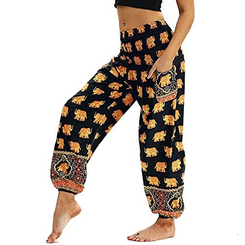 Nuofengkudu Mujer Pantalones Hippies Tailandeses Estampado Verano Cintura Alta Elastica con Bolsillos para Yoga Pants Casual Amarillo Elefante
