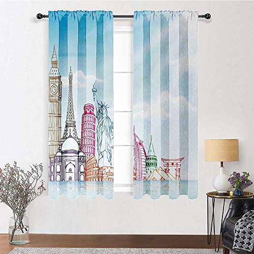 Adorise Curtains Sky Blue Backgrounded Image of European Cities Landmarks Colorful Artwork Print Sliding Glass Door Drapes for Sliding Door (W52 Inch by L84 Inch, 2 Panels)