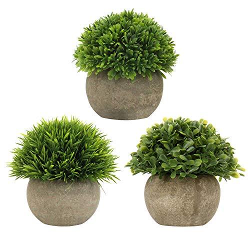 Breve piante artificiali erba in vaso fiori artificiali piante finte piccole piante decorative in plastica sintetica per interni per casa, ufficio, bagno, cucina e arredamento esterno, confezione da 3