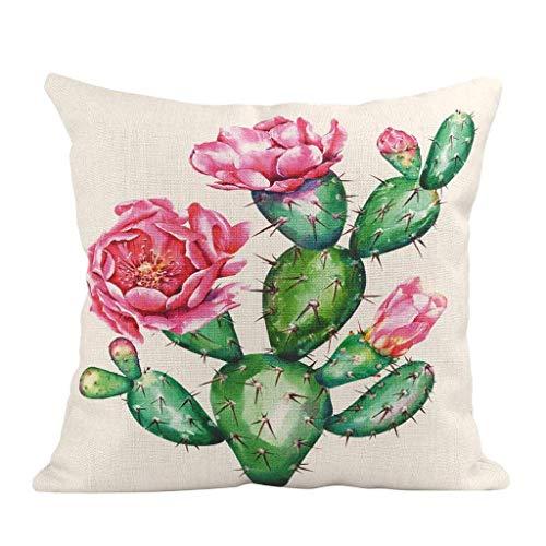 MUzoo Aquarell Malerei Dekorative Wurfkissen Fall Kaktus Blume Grün Sukkulente Kissenbezüge Party Home Bauernhaus Dekor Kaktus Blume 45x45cm (Color : A1)