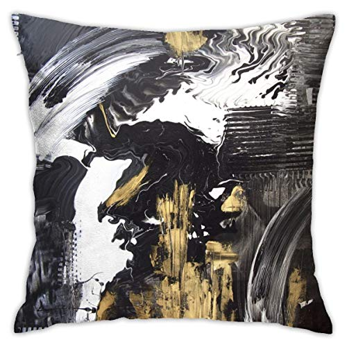 Yaateeh Abstract Black and White with Gold Acrylic Painting Throw Pillow Covers Decorative 18x18 Inch Pillowcase Square Cushion Cases for Home Sofa Bedroom Livingroom
