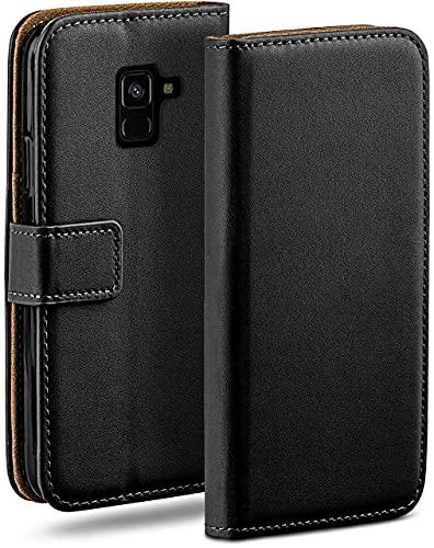 moex Klapphülle kompatibel mit Samsung Galaxy A8 (2018) Hülle klappbar, Handyhülle mit Kartenfach, 360 Grad Flip Hülle, Vegan Leder Handytasche, Schwarz