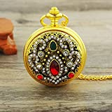LUNAH Reloj de Bolsillo y Productos de Cadena Reloj de Bolsillo para Mujer Collar Steampunk Colgante Reloj de Bolsillo de Cuarzo Reloj de Bolsillo con Estampado de Moda