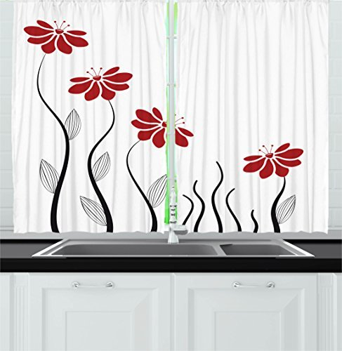 """Ambesonne Flower Kitchen Curtains, Floral Petals with Striped Leaves and Lines Modern Style Geometrical Design Print, Window Drapes 2 Panel Set for Kitchen Cafe Decor, 55"""" X 39"""", Red Black"""