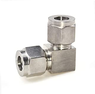 Beduan 304 Stainless Steel Compression Fitting Ferrule, Elbow 90 Degree Double - 8mm OD, Compression Tube & Pipe Fitting (Pack of 1)