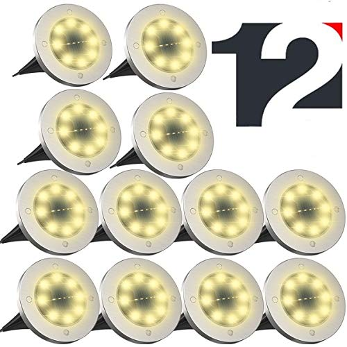 ZFITEI 12 Pack Solar Ground Lights,Disk Lights Solar Powered, Outdoor in-ground Solar Lights for Landscape,Walkway,Lawn ,Steps Decks,Pathway Yard Stairs Fences,Waterproof
