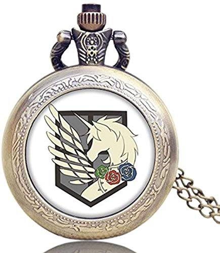 Reloj de Bolsillo Retro de Cuarzo Titan Three Corps Flag Cúpula de Vidrio Vintage Longitud Collar Colgante para Hombre Mujer