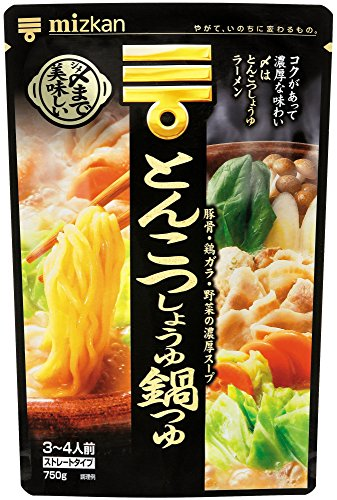 Mizkan Soup Base for Hot Pot (Pork Bone and Soy Sauce Nabe) Straight Type 750g