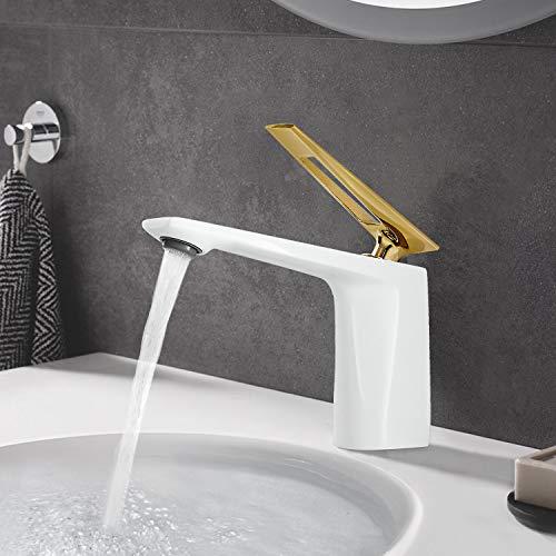Wasserhahn Bad Waschtischarmatur, JTWEB Badarmatur Einhand Waschtischbatterie, Elegant Stil Armatur Waschbecken Für Badezimmer, Massivem Messing, Hoch Qualität Keramikventil(Weiß)