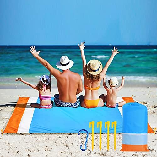 Hianjoo Alfombra de Playa, Manta de Picnic 210 x 200cm Esterilla Playa Impermeable a Prueba de Arena con 4 Clavos Fijos y Bolsa, Acampar en la Playa Picnic Jardín Parque Hierba, Azul Blanco Naranja