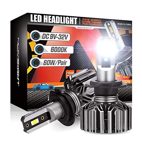 NOVSIGHT H7 LED Headlight Bulbs, 12000 Lumens 60W Super Bright Headlights Conversion Kits, 6500K Cool White Pack of 2