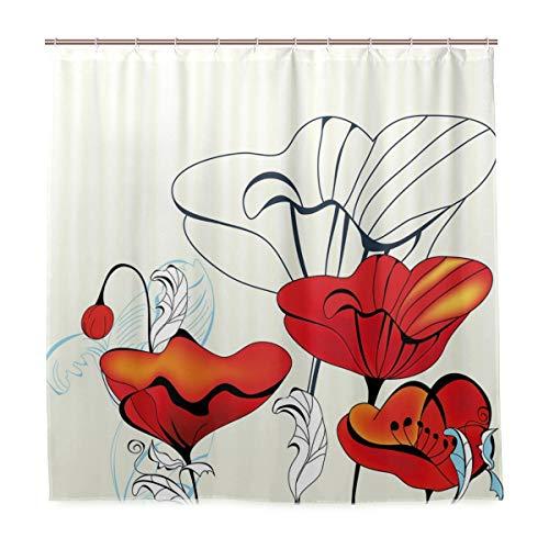 BEITUOLA Duschvorhang,Künstlerische Blümchen & Knospen mit den roten Blütenblättern der gelockten Blätter im Weinlesestil,Wasserdicht Polyester Textil Stoff Badewannevorhang Shower Curtain