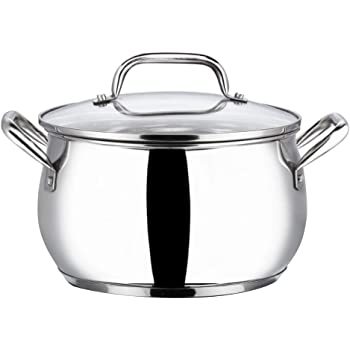 Vinod Stainless Steel Almaty Casserole with Glass lid -18 cm, 2.9 Ltr (Induction Friendly)