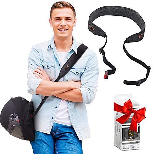 Cinturino per casco da moto - Potrai avere le mani libere. Accessorio per casco pratico e leggero invece della solita borsa per il casco. Regalo perfetto per uomini e donne. Grigio. EZ-GO (Black)