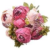 Zmdmg 13 Pcs/Bouquet Artificielle Pivoine Parti Décoratif Soie Faux Fleur Pivoines pour La Maison Hôtel Décor Bricolage Décoration De Mariage Fleur Couronne-H_M