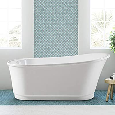 """FerdY Langkawi 59"""" Acrylic Freestanding Bathtub, White Modern Stand Alone Soaking Bathtub, cUPC Certified, Brushed Nickel Drain and Minimalist Linear Design Overflow Included, Easy to Install, 02568T"""