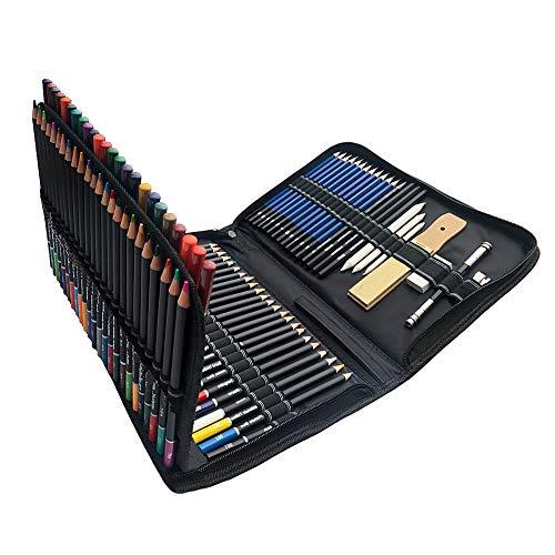Juego de 72 lápices de dibujo de colores, 96 piezas, con herramienta de dibujo, lápices de dibujo, juego de arte ideal para adultos y niños