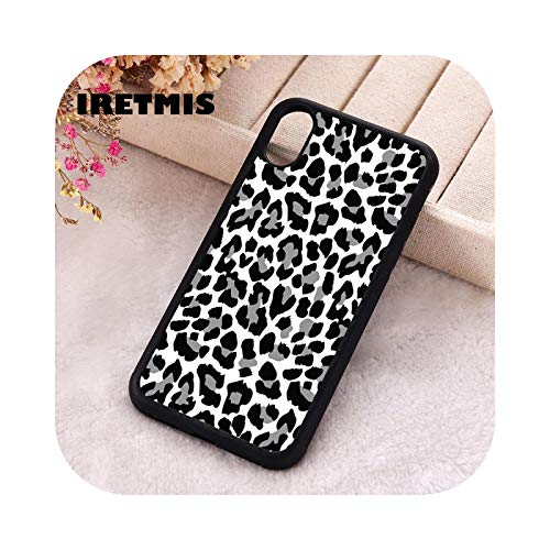 5 5S SE 2020 funda de teléfono para iPhone 6 6S 7 8 Plus X Xs Max XR 12 Mini Pro silicona suave negro y gris estampado de leopardo para iPhone 12 MINI