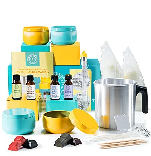 Hearts & Crafts Kit de fabricación de velas de soja para principiantes – con tintes de color, aceite aromático, cera de soja, mechas preenceradas, termómetro de vela y mucho más – Vela completa