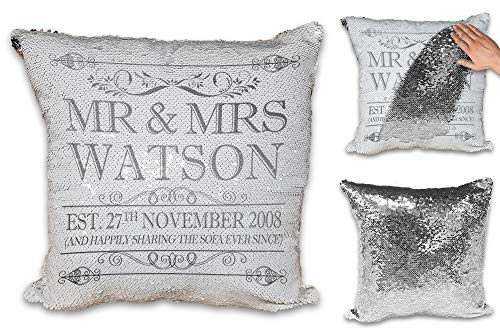 Personalised Happily Sharing The Sofa Together Anniversary Novelty Sequin Reveal Magic Cushion Cover (Silver Design)