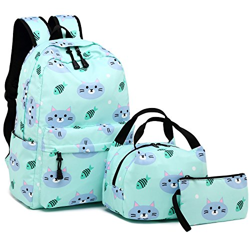 Backpack for School Girls Kids Bookbag Set Water Resistant School Bag with Insulated Lunch Bag (Cat-Water Blue)