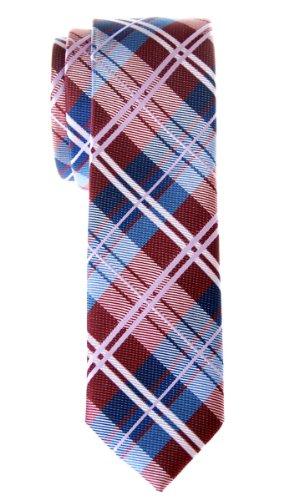 Retreez Corbata de microfibra fina con estampado a cuadros elegante para hombres Rojo burdeos y azul