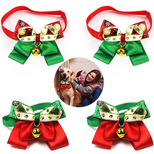 WELLXUNK® Hundehalsband mit Fliege, Weihnachtshalsband, mit Charm-Halskette, Outfits für kleine und mittelgroße Hunde, Welpen, Katzen (A)