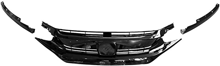 Grille Compatible With 2016-2018 Honda Civic | Factory Style Gloss Black Front Bumper Grille Hood + Eye Lid 3PC ABSby IKON MOTORSPORTS