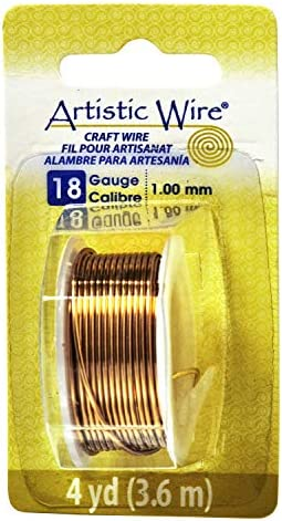 Beadalon Artistic, 18 Gauge, Non-Tarnish, 4 yd (3.7 m) Craft Wire, NT Brass