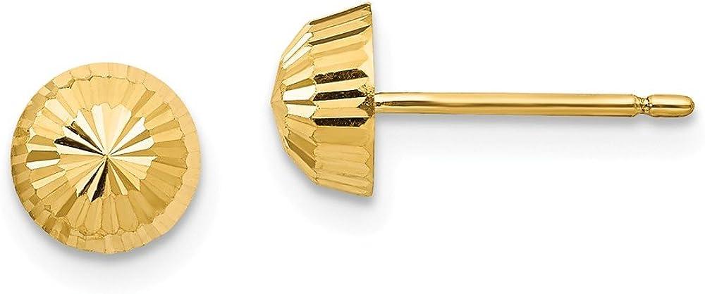 Solid 14k Yellow Gold Polished & Diamond-Cut Swirl 5mm Button Post Earrings