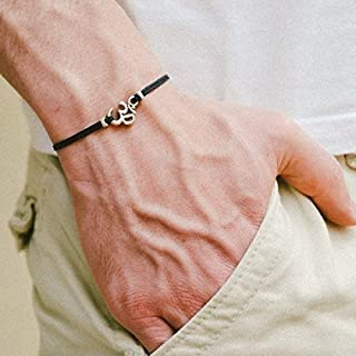 OM bracelet, men's bracelet with Tibetan silver Om charm, Hindu, spiritual, bracelet for men, best man gift, yoga bracelet, mantra jewelry