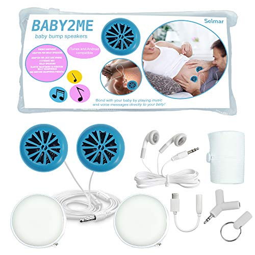 Baby2me Belly Headphones for Pregnancy – Tummy Buds for Pregnant Women to Play Music, Voice Messages & Audio to Baby in Womb – Includes iPhone Adapter, Splitter, Stretch Waist Band, Storage Bag