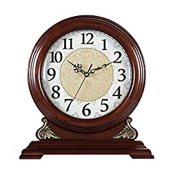 Mantel Clocks with Westminster Chimes, Wooden Mantle Desk Table Clock That Chimes on The Hour, Silent Standing Classic Shelf Clock, Battery Operated,3234.5cm