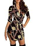 Minetom Mini Kleider Damen 3/4 Ärmel Sexy Blusenkleid Tunikakleid Wickelkleider Shirtkleid V-Ausschnitt Drucken Tasten Hemdkleid Mit Gürtel Gold 34
