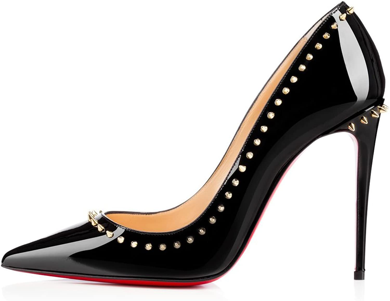 Joogo Women's Fashion Pointed Toe Red Sole High Slim Heel Pumps with Rivet Decoration