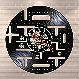 Horloge Murale Vintage de Jeu vidéo en Vinyle pour Chambre d'enfant Gamer Home Decor Retro Arcade Game Silencieux Non Ticking Wall Watch-with_LED