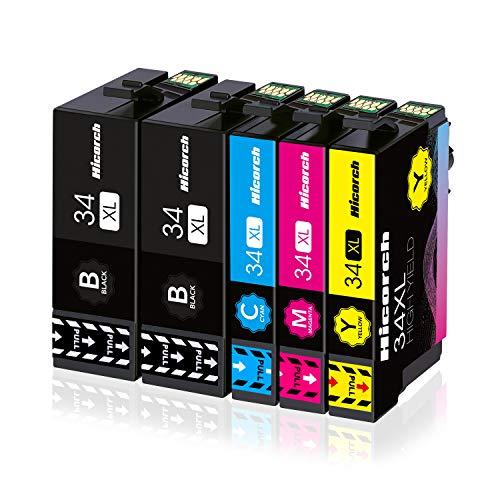 Hicorch 34XL Cartucce d'inchiostro Compatibile con Cartucce Epson 34 XL Multipack per Epson WorkForce Pro WF-3720DWF WF-3720 WF3720 WF-3725DWF WF-3725 WF3725 (2 Nero,1 Ciano,1 Magenta,1 Giallo)