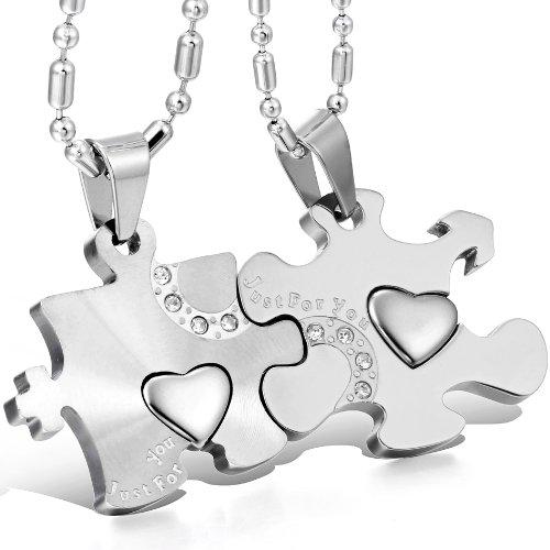 JewelryWe Schmuck 2 Freundschaftsketten Halsketten Just for You Liebe Edelstahl Puzzle Herz Anhänger für Damen & Herren Silber/Silber