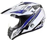 Qtech Casco Motocross Fuori Strada Enduro MX con Visiera MX Dual Touring - Rosso - M (57-58 cm)