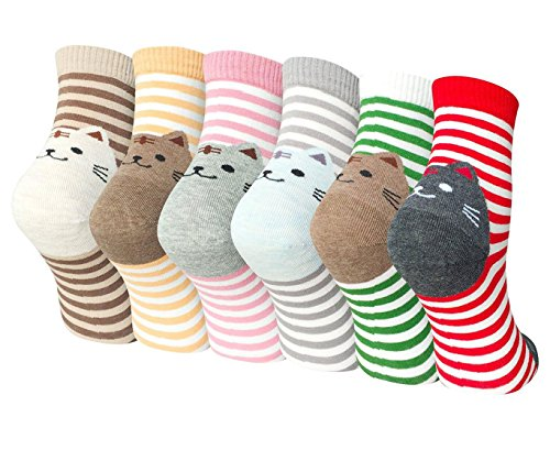 Ladies Womens Cartoon Cotton Socks Cute Cat Design Casual Novelty Crew Socks, Mixed color-6 pack, One size (UK 5-10)