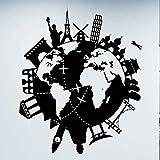 Volo aereo viaggio intorno al mondo terra viaggio globale città punto di riferimento edificio adesivo da parete in vinile auto decalcomania camera da letto ufficio club decorazioni per la casa mu