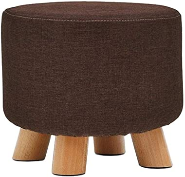 Footstools Brown Durable Round Chair Footrest Change Shoe Bench Household Solid Wood Makeup Stool Ottoman Pouffe Footstool fo