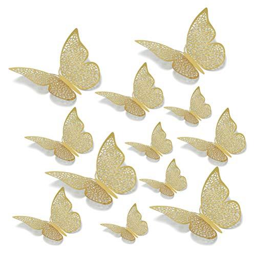 N\A Papillons Décoration, Lot de 12 Stickers Muraux 3D Papillons Décoratifs Dorés Papillon Autocollants Muraux Stickers Amovibles Décoratifs pour Décoration de Chambre Bébé