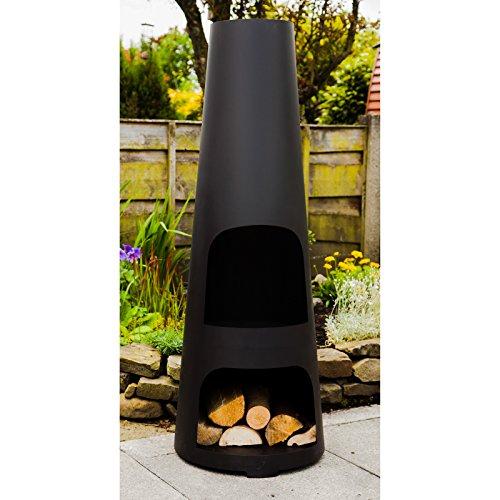 Made O' Metal Cone Shaped Large Steel Garden Patio Chimenea Log Burner Heater